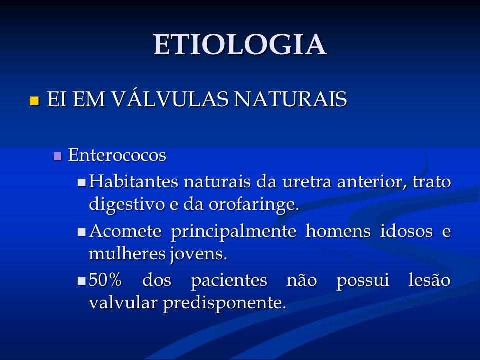 ETIOLOGIA EI EM VÁLVULAS NATURAIS Enterococos