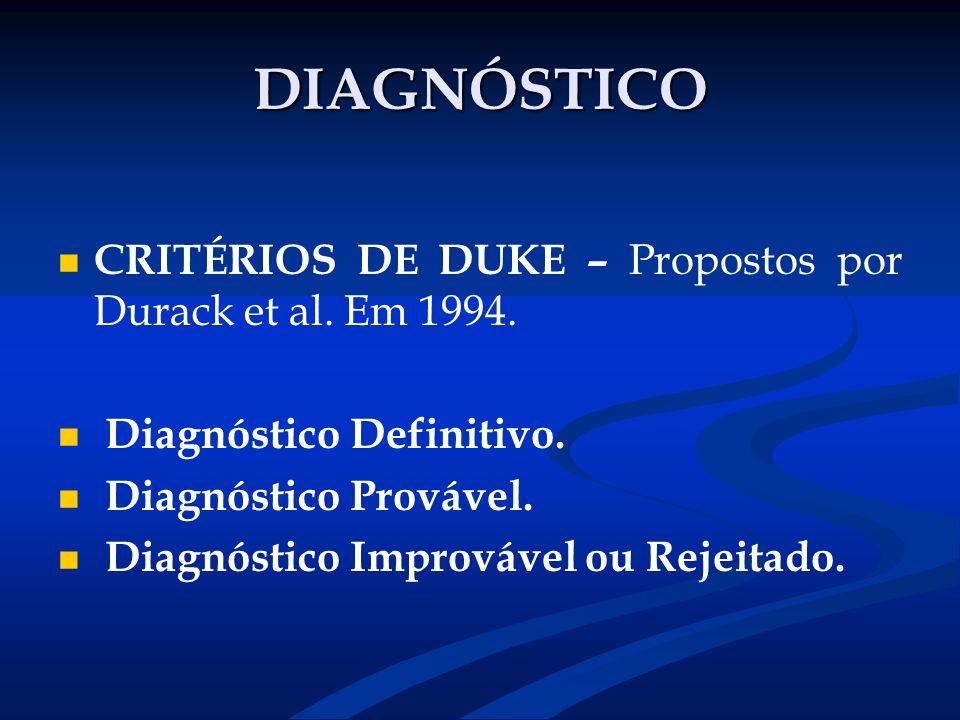 DIAGNÓSTICO CRITÉRIOS DE DUKE – Propostos por Durack et al. Em 1994.