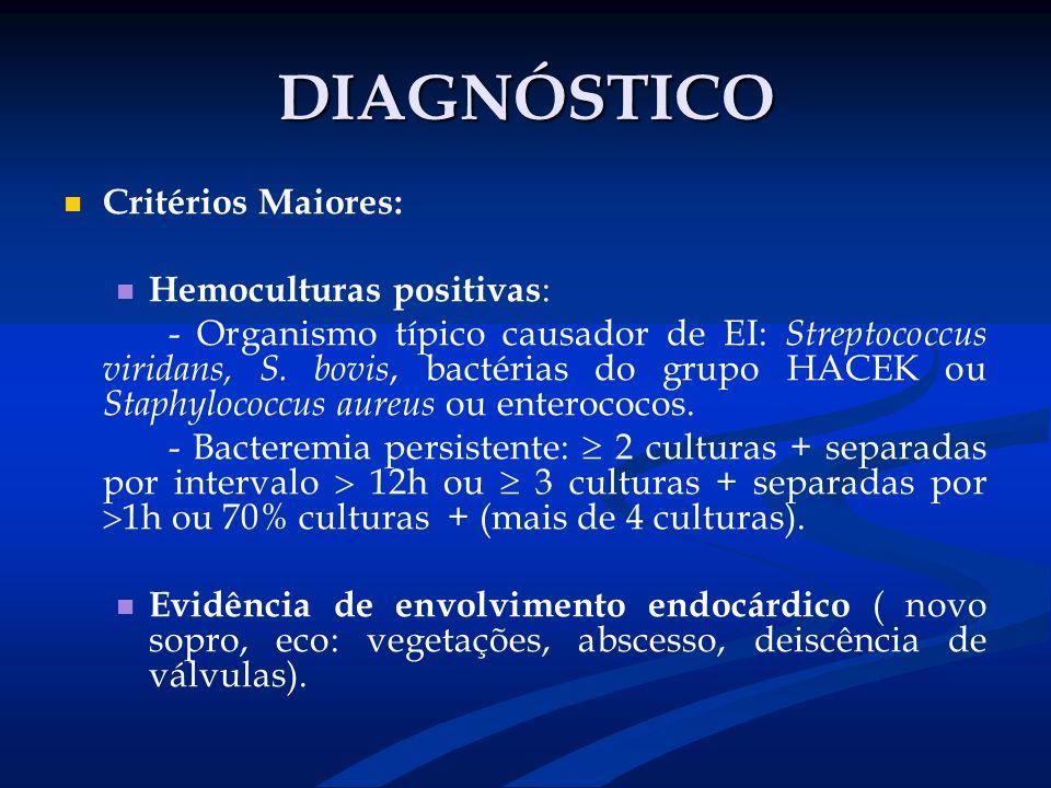 DIAGNÓSTICO Critérios Maiores: Hemoculturas positivas: