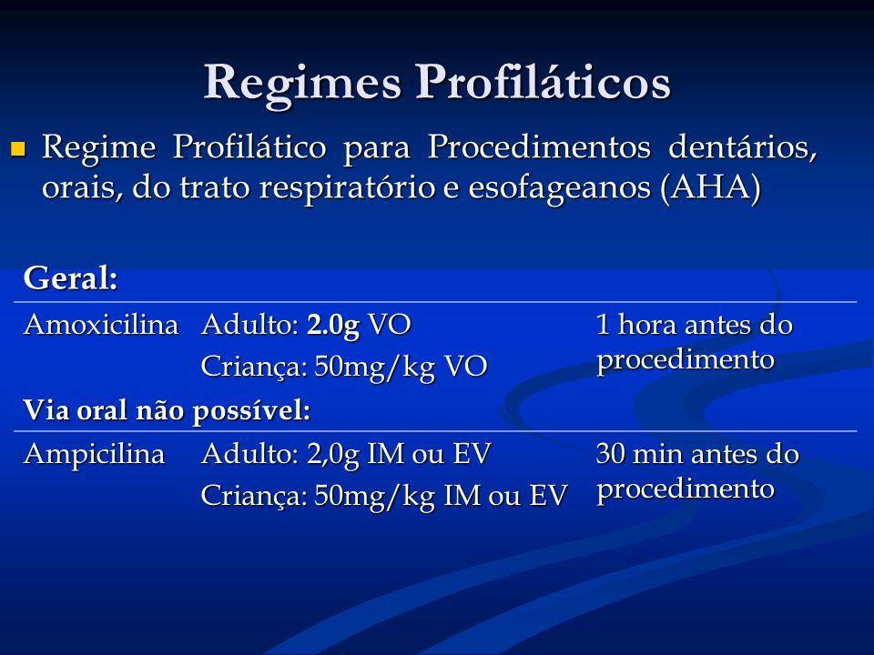 Regimes Profiláticos Regime Profilático para Procedimentos dentários, orais, do trato respiratório e esofageanos (AHA)