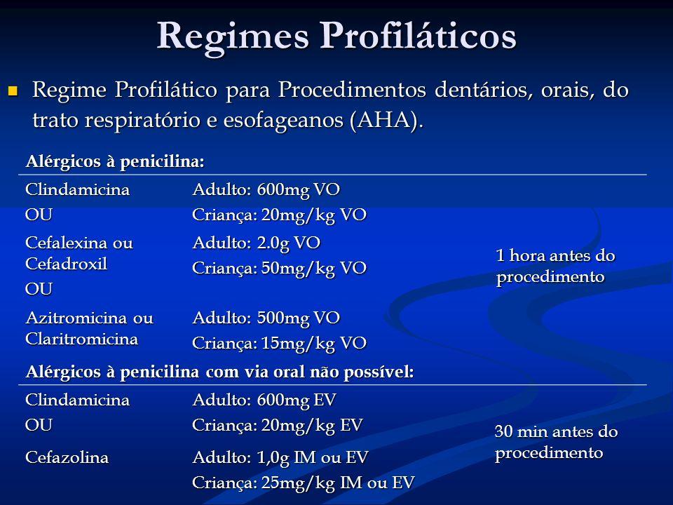 Regimes Profiláticos Regime Profilático para Procedimentos dentários, orais, do trato respiratório e esofageanos (AHA).