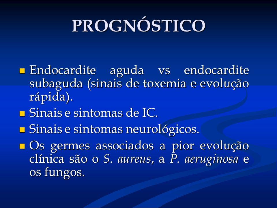 PROGNÓSTICO Endocardite aguda vs endocardite subaguda (sinais de toxemia e evolução rápida). Sinais e sintomas de IC.