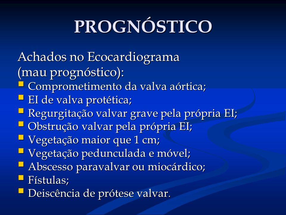 PROGNÓSTICO Achados no Ecocardiograma (mau prognóstico):