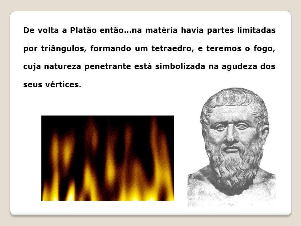 De volta a Platão então…na matéria havia partes limitadas por triângulos, formando um tetraedro, e teremos o fogo, cuja natureza penetrante está simbolizada na agudeza dos seus vértices.