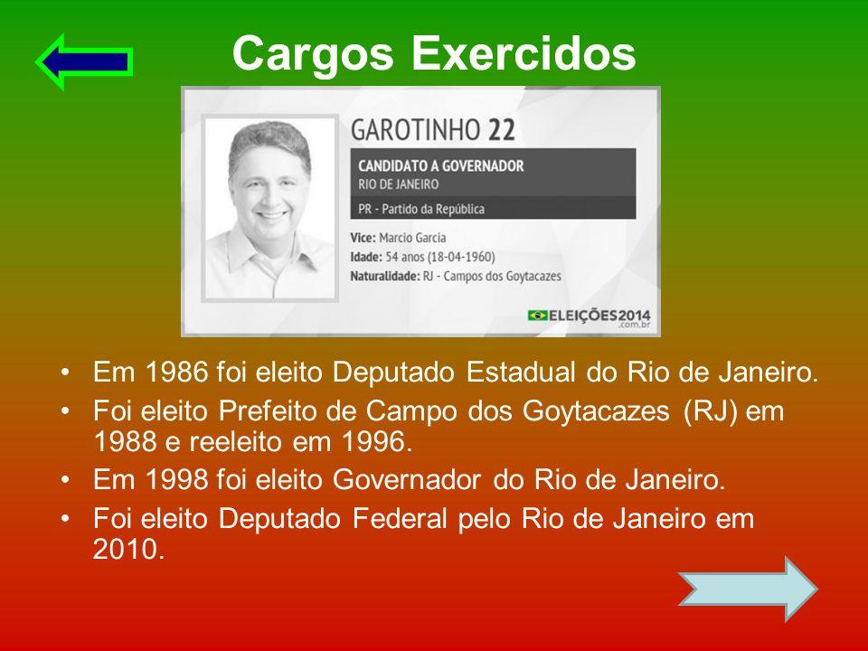 Cargos Exercidos Em 1986 foi eleito Deputado Estadual do Rio de Janeiro.