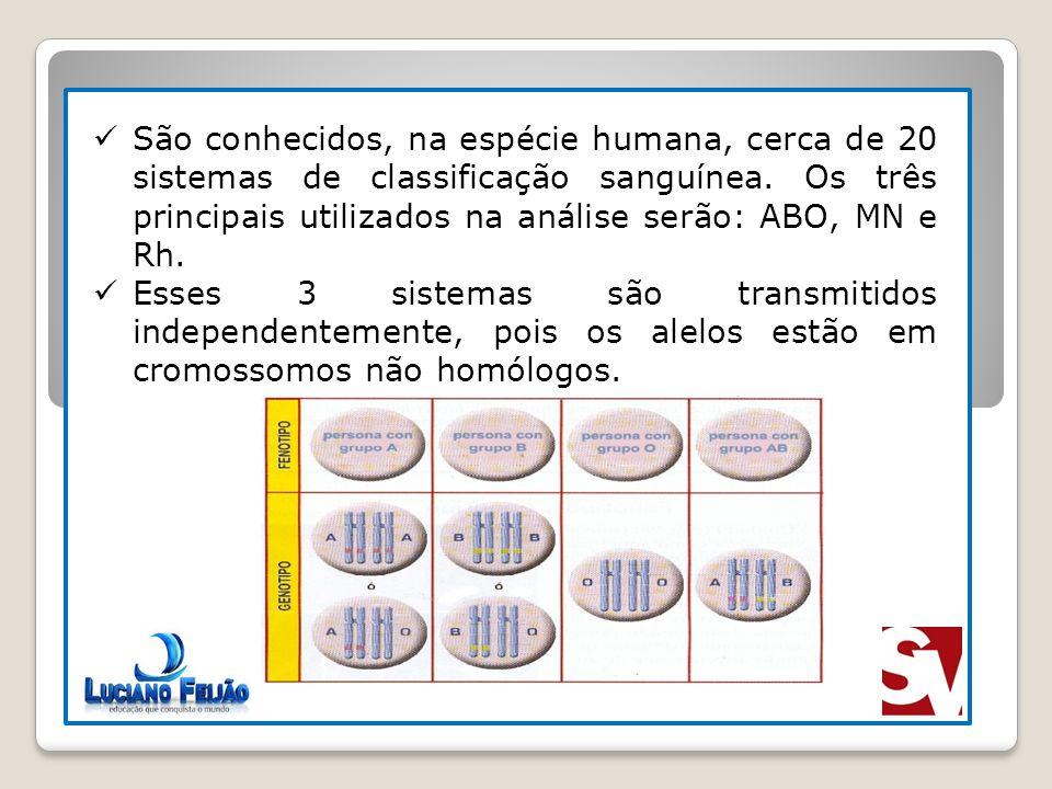 São conhecidos, na espécie humana, cerca de 20 sistemas de classificação sanguínea. Os três principais utilizados na análise serão: ABO, MN e Rh.