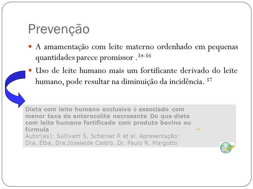 Prevenção A amamentação com leite materno ordenhado em pequenas quantidades parece promissor .54-56.