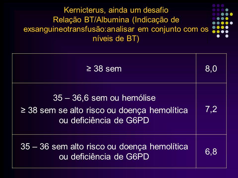 ≥ 38 sem se alto risco ou doença hemolítica ou deficiência de G6PD 7,2