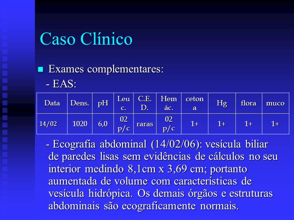 Caso Clínico Exames complementares: - EAS: