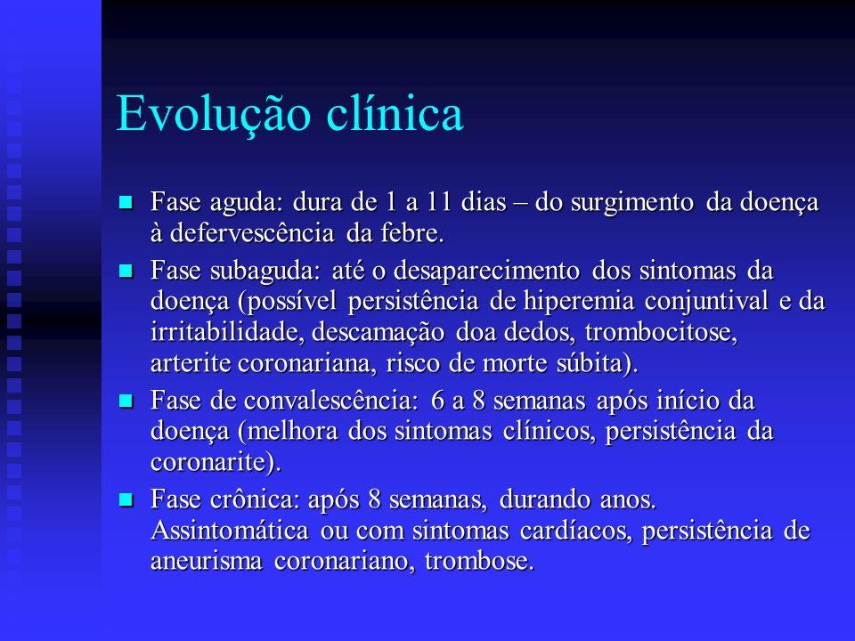 Evolução clínica Fase aguda: dura de 1 a 11 dias – do surgimento da doença à defervescência da febre.