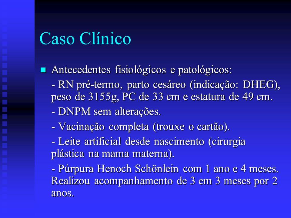 Caso Clínico Antecedentes fisiológicos e patológicos: