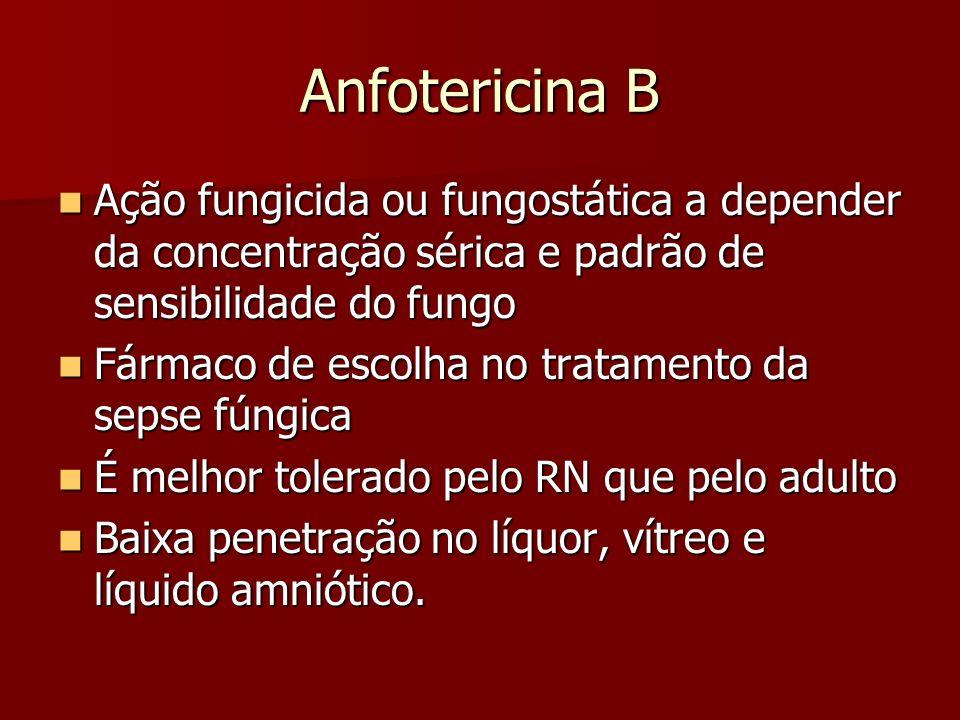 Anfotericina B Ação fungicida ou fungostática a depender da concentração sérica e padrão de sensibilidade do fungo.