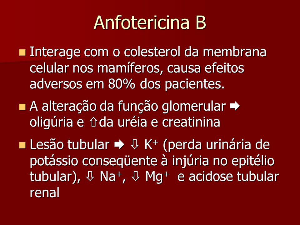 Anfotericina B Interage com o colesterol da membrana celular nos mamíferos, causa efeitos adversos em 80% dos pacientes.