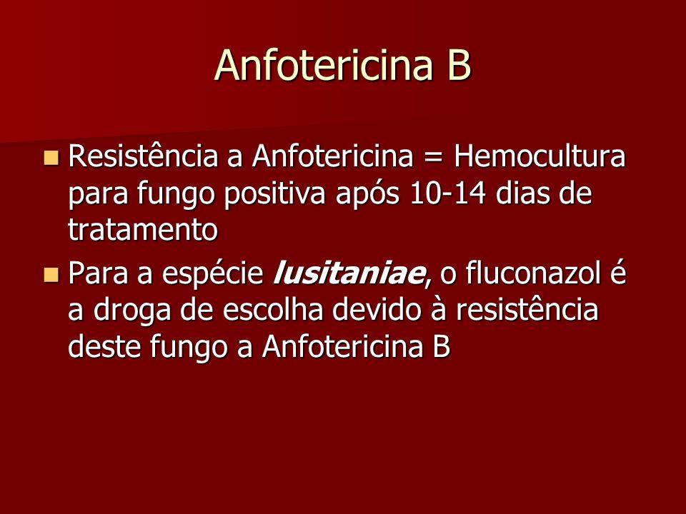 Anfotericina B Resistência a Anfotericina = Hemocultura para fungo positiva após 10-14 dias de tratamento.