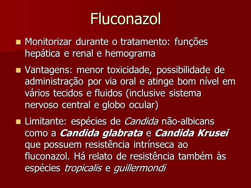 Fluconazol Monitorizar durante o tratamento: funções hepática e renal e hemograma.