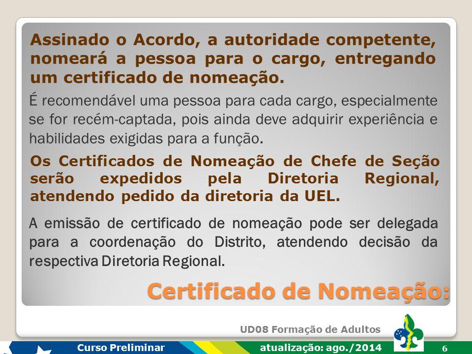 Certificado de Nomeação: