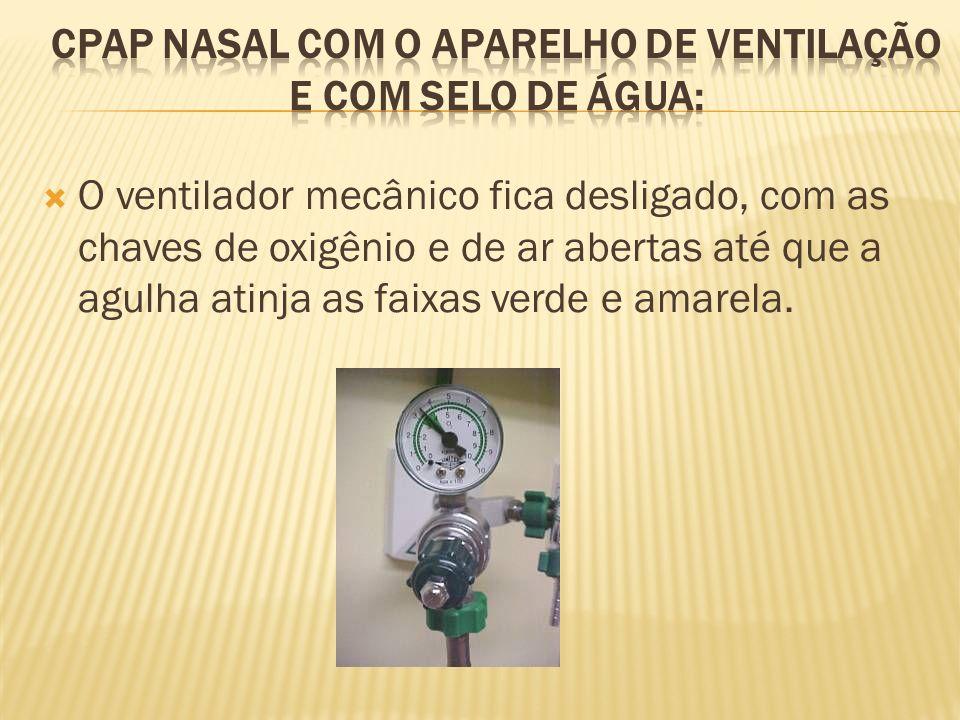 CPAP NASAL COM O APARELHO DE VENTILAÇÃO E COM SELO DE ÁGUA:
