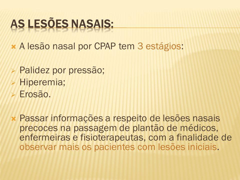 As lesões nasais: A lesão nasal por CPAP tem 3 estágios: