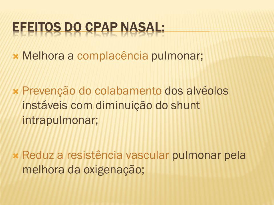 Efeitos do cpap nasal: Melhora a complacência pulmonar;
