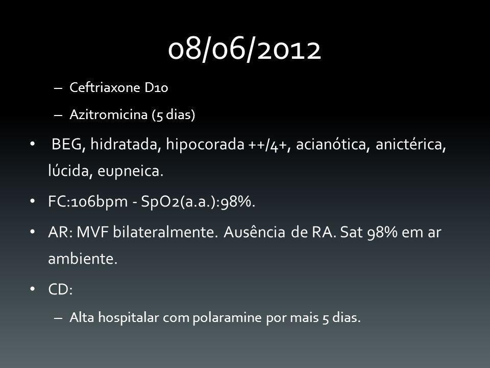 08/06/2012 Ceftriaxone D10. Azitromicina (5 dias) BEG, hidratada, hipocorada ++/4+, acianótica, anictérica, lúcida, eupneica.
