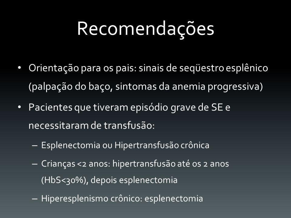 Recomendações Orientação para os pais: sinais de seqüestro esplênico (palpação do baço, sintomas da anemia progressiva)