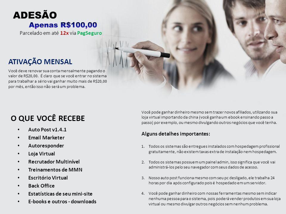 ADESÃO O QUE VOCÊ RECEBE ATIVAÇÃO MENSAL Apenas R$100,00