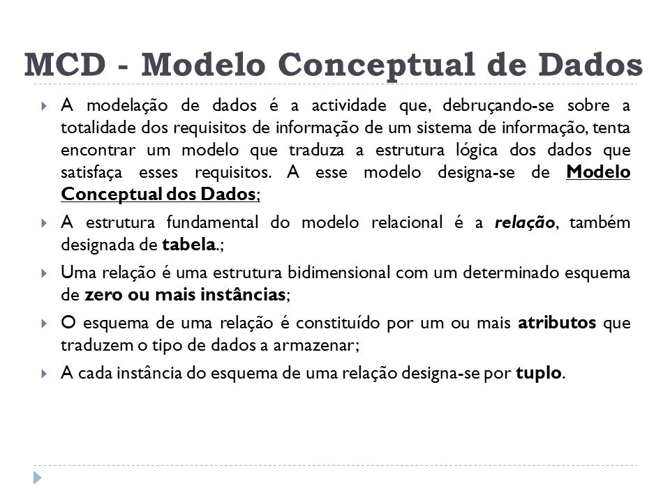 MCD - Modelo Conceptual de Dados