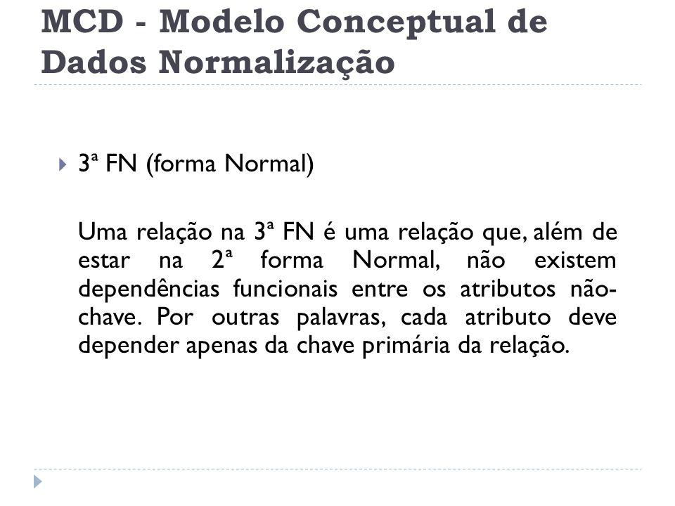 MCD - Modelo Conceptual de Dados Normalização