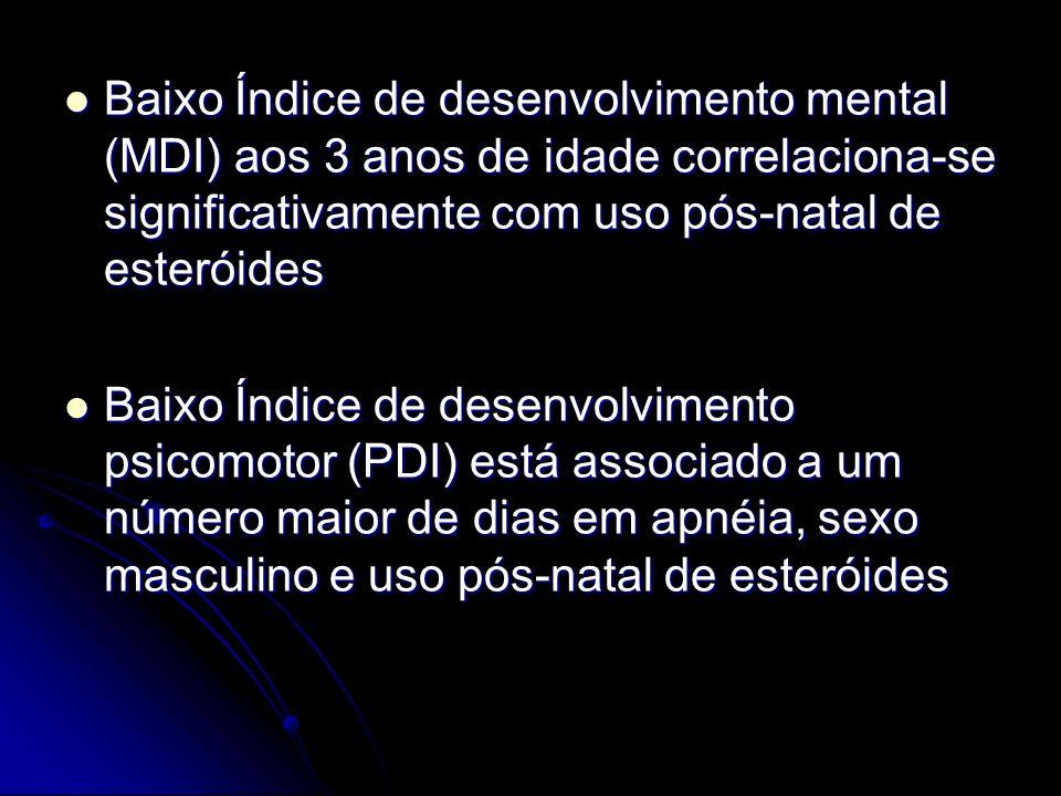 Baixo Índice de desenvolvimento mental (MDI) aos 3 anos de idade correlaciona-se significativamente com uso pós-natal de esteróides