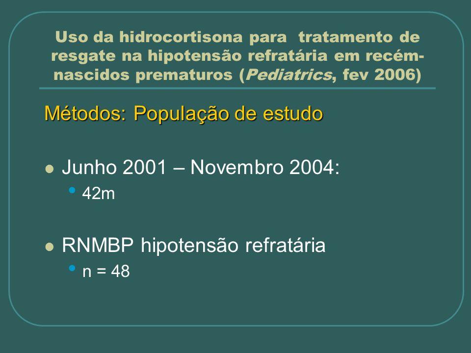 Métodos: População de estudo Junho 2001 – Novembro 2004: