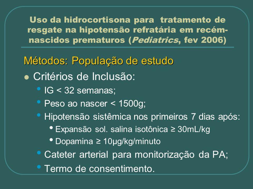 Métodos: População de estudo Critérios de Inclusão: