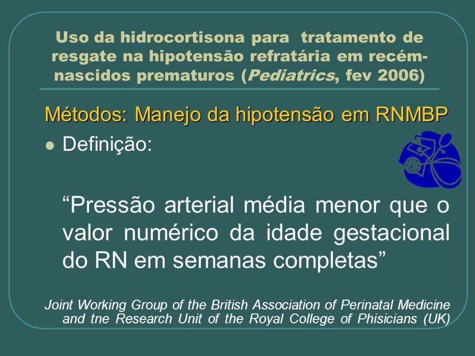 Métodos: Manejo da hipotensão em RNMBP Definição: