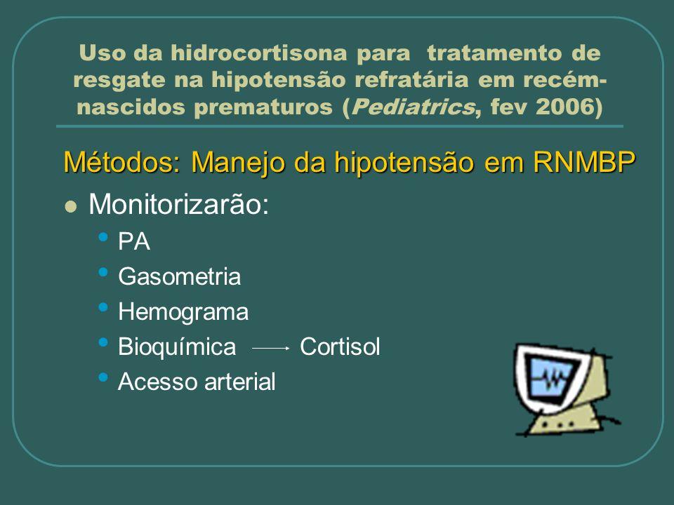 Métodos: Manejo da hipotensão em RNMBP Monitorizarão: