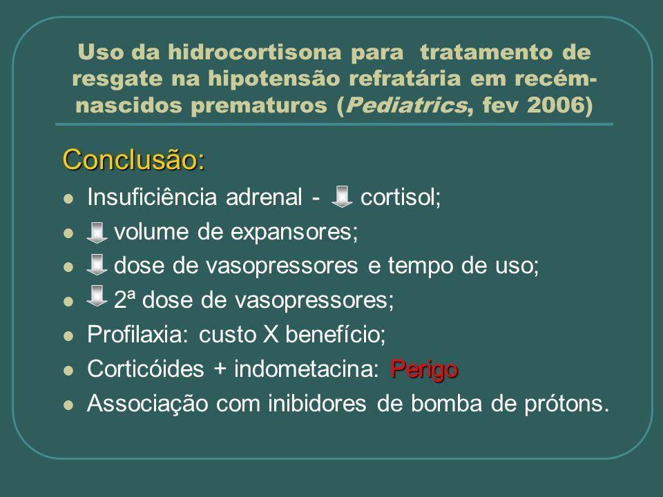 Conclusão: Insuficiência adrenal - cortisol; volume de expansores;