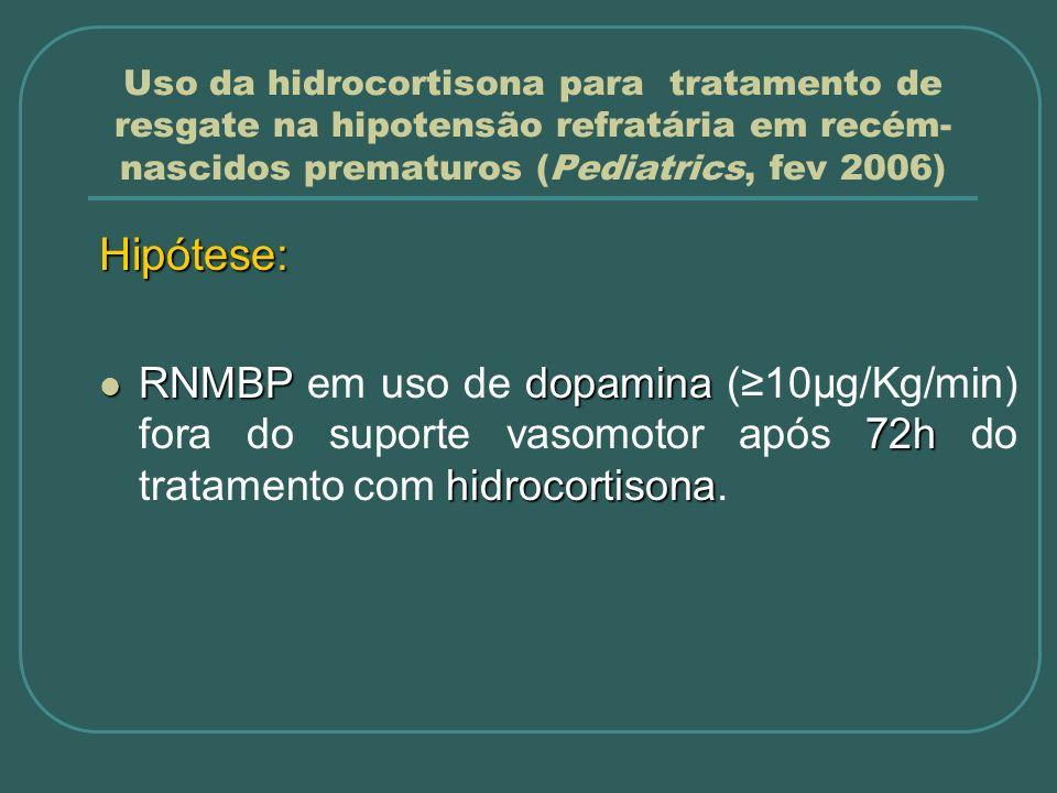 Uso da hidrocortisona para tratamento de resgate na hipotensão refratária em recém-nascidos prematuros (Pediatrics, fev 2006)