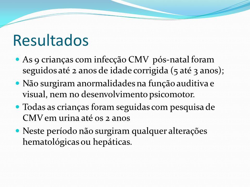 Resultados As 9 crianças com infecção CMV pós-natal foram seguidos até 2 anos de idade corrigida (5 até 3 anos);