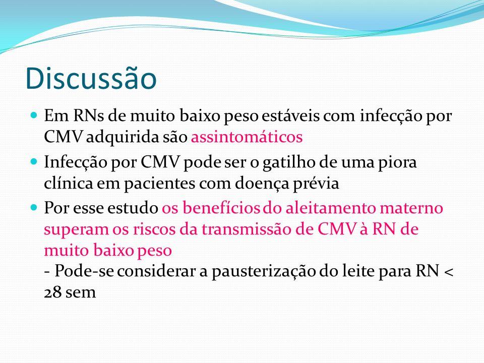 Discussão Em RNs de muito baixo peso estáveis com infecção por CMV adquirida são assintomáticos.