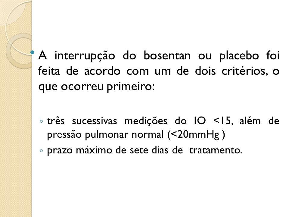 A interrupção do bosentan ou placebo foi feita de acordo com um de dois critérios, o que ocorreu primeiro: