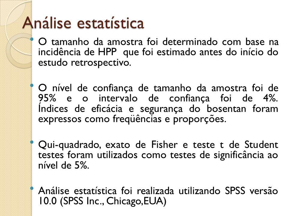 Análise estatística O tamanho da amostra foi determinado com base na incidência de HPP que foi estimado antes do início do estudo retrospectivo.