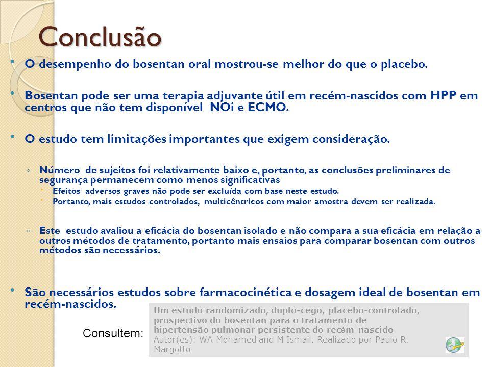 Conclusão O desempenho do bosentan oral mostrou-se melhor do que o placebo.