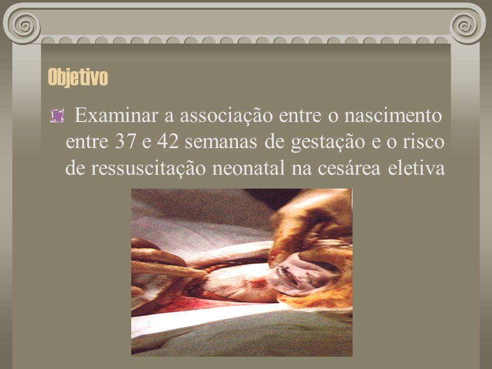 ObjetivoExaminar a associação entre o nascimento entre 37 e 42 semanas de gestação e o risco de ressuscitação neonatal na cesárea eletiva.
