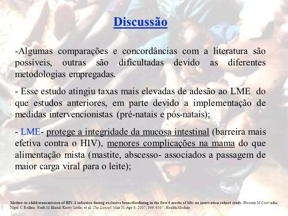 DiscussãoAlgumas comparações e concordâncias com a literatura são possíveis, outras são dificultadas devido as diferentes metodologias empregadas.