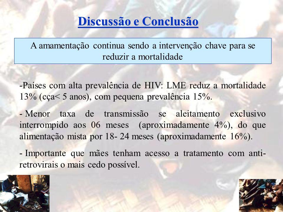 Discussão e ConclusãoA amamentação continua sendo a intervenção chave para se reduzir a mortalidade.