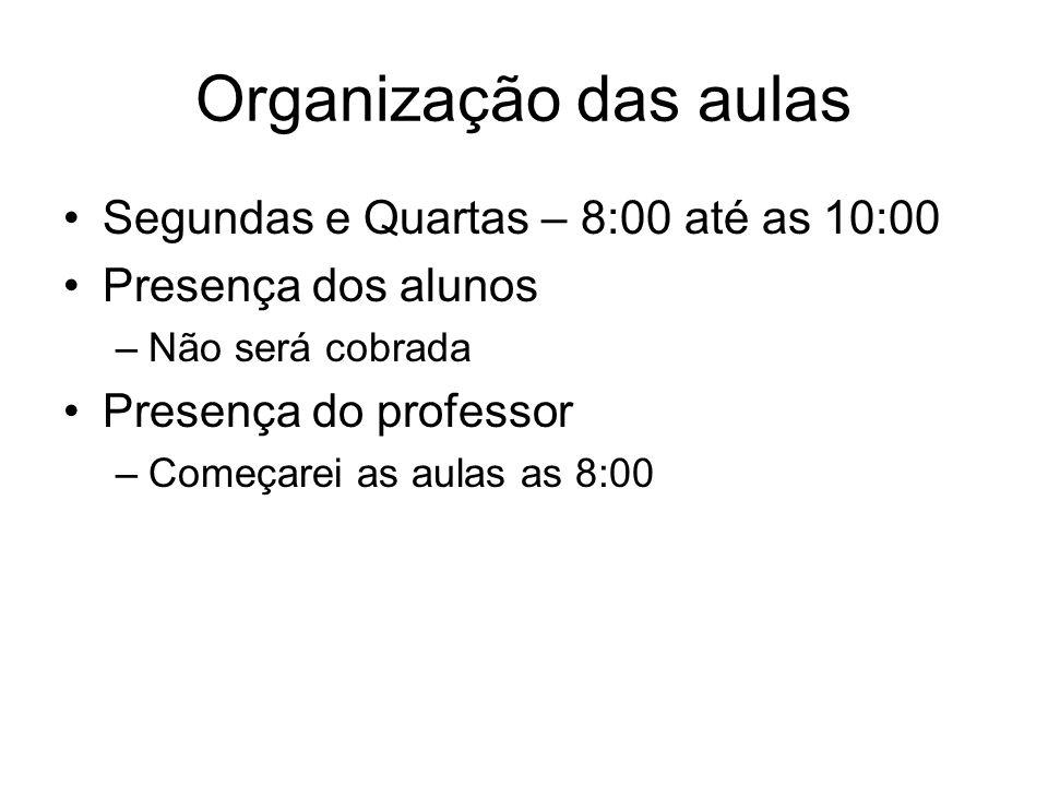 Organização das aulas Segundas e Quartas – 8:00 até as 10:00