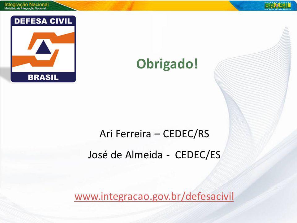Obrigado! Ari Ferreira – CEDEC/RS José de Almeida - CEDEC/ES