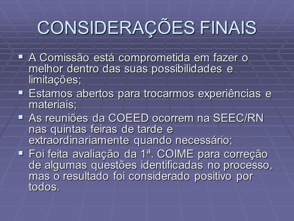 CONSIDERAÇÕES FINAIS A Comissão está comprometida em fazer o melhor dentro das suas possibilidades e limitações;
