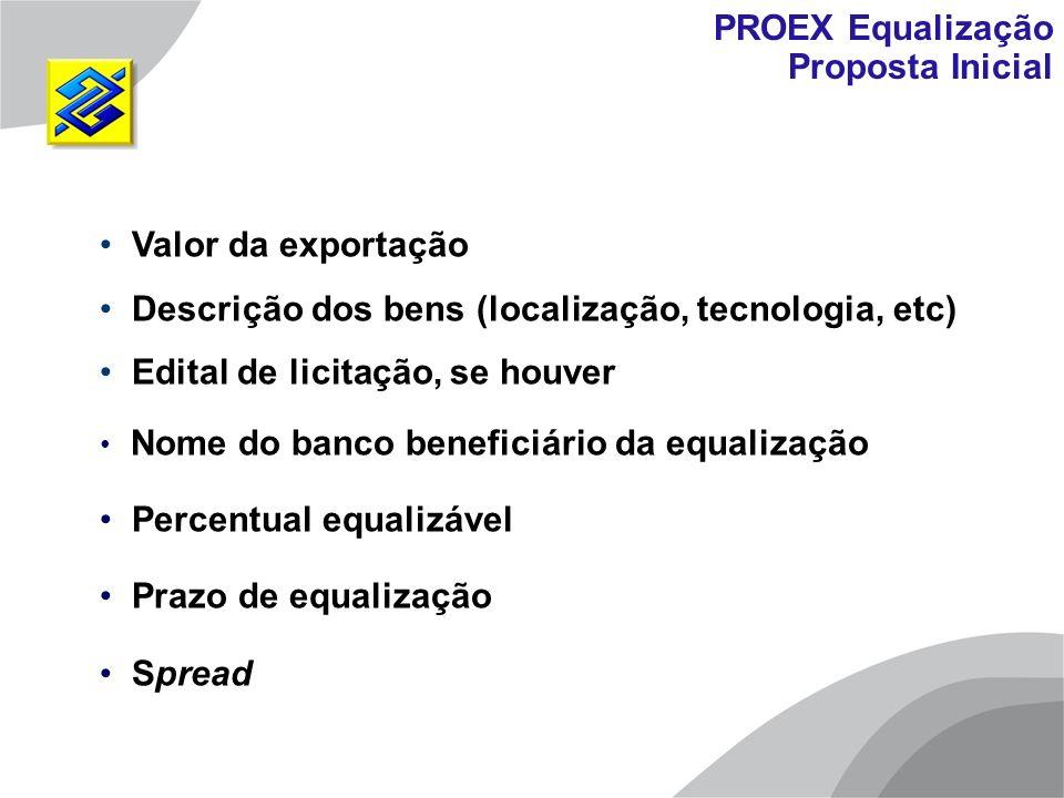 PROEX Equalização Proposta Inicial. Valor da exportação. Descrição dos bens (localização, tecnologia, etc)