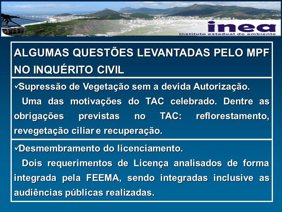 ALGUMAS QUESTÕES LEVANTADAS PELO MPF NO INQUÉRITO CIVIL