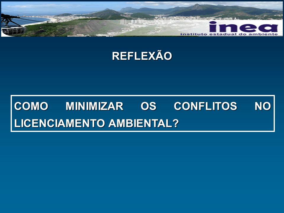 REFLEXÃO COMO MINIMIZAR OS CONFLITOS NO LICENCIAMENTO AMBIENTAL