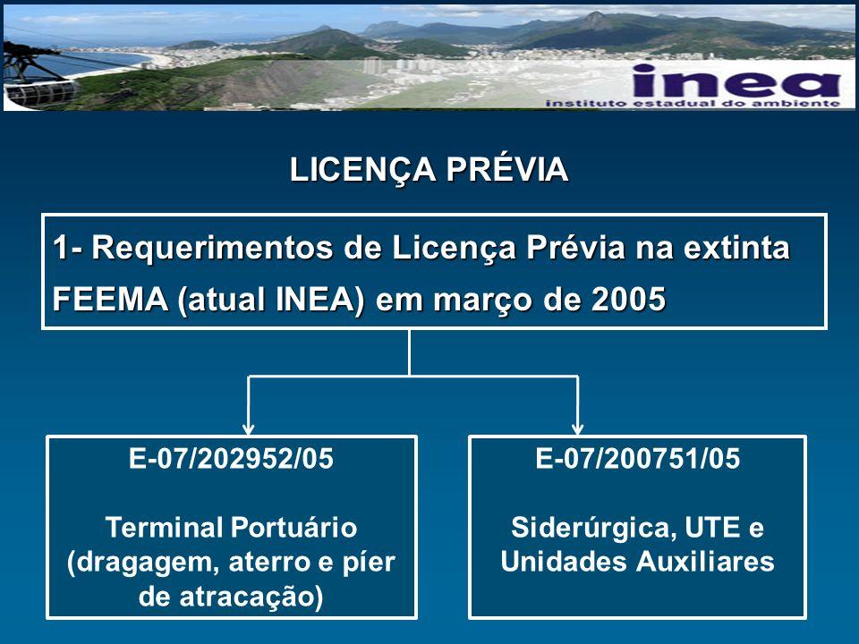 LICENÇA PRÉVIA 1- Requerimentos de Licença Prévia na extinta FEEMA (atual INEA) em março de 2005.